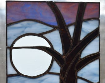 Full Moon Tree Evening Stained Glass