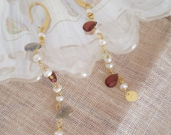 Gold plated 925 Silver earrings with pearls, agate and labradorite