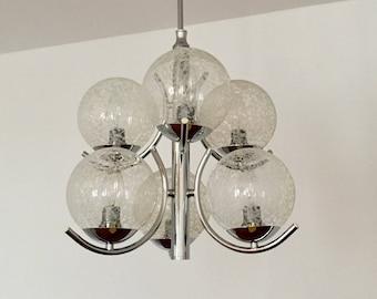 Beautiful 1970 's Sputnik chandelier by Richard Vinegar Germany | Structured Glass Shades |