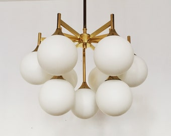 Amazing mid-century modern brass and Opaline glass Sputnik chandelier by Kaiser Luminaires | 1960 's |
