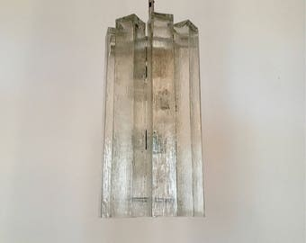 1 of 6 stunning big modernist crystal glass pendant lamps by Doria | 1960 's ·
