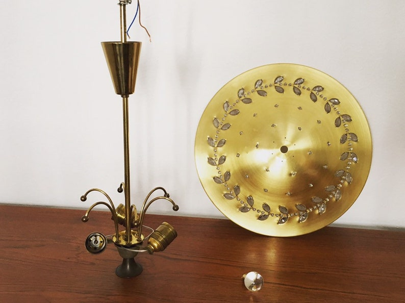 to Palwa luxurious Mid-Century Modern brass and crystal glass chandelier attr 1950s