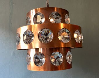 1 of 2 brutalist copper and crystal glass chandelier | Mid-century Modern | 1960 's |