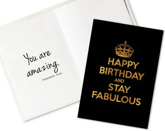 Editable Birthday Card Printable Happy And Stay Fabulous Gold Black Fillable PDF Add Own Text DIY Digital File