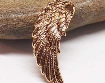 Vintage Wing Pendant, Golden Wing, Vintage Wing Charm, Angel Wing