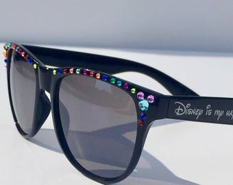 Embellished Mickey Gem Sunglasses-Top Gems-Customizable-Rainbow/Diamond/Pearl