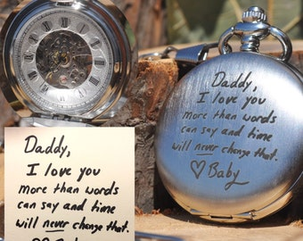 Real Handwriting, Gift for Men, Mechanical, Hand Wind-up, Memorial, Engraved Pocket Watch, Personalized, Handwritten, Double Sided, Custom