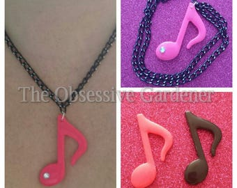 Music Note Necklace or Brooch, Pink or Black. You Choose!  Stocking Filler