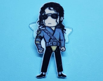 Cartoon Michael Jackson Brooch. Badge, Legend, Icon, 80's, Retro, Music