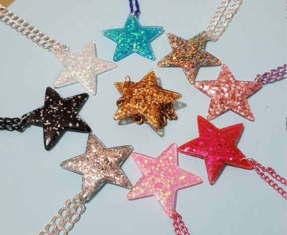 Christmas themed Acrylic Charm Necklaces Stocking Filler Various Designs Glitter