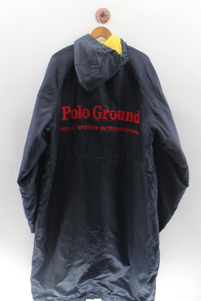 f3f98482ddeef Vintage POLO Ground Long Jacket Unisex Double XL Polo Ground Fully Zipper  Button Bomber Jacket Polo Ground Hoodie Black Sweater Size XXL