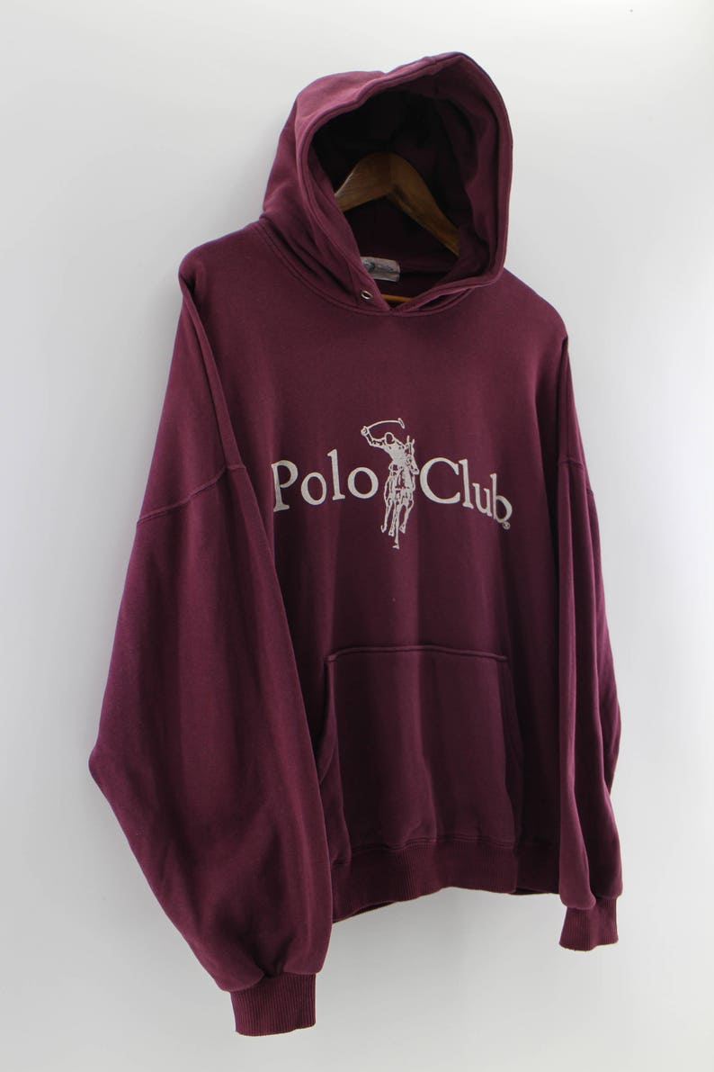 ad99ec17c POLO CLUB Hoodie Jumper Sweatshirt Dark Red Large Streetwear