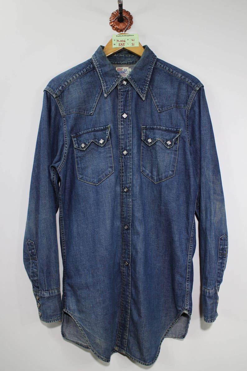 3849129250 Levis Shirts Snap On Pearl Button Vintage Authentic Denim
