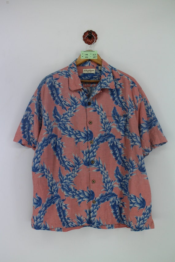 Vintage 80/'s Tropical Neon Buttondown T-Shirt XL All Over Print