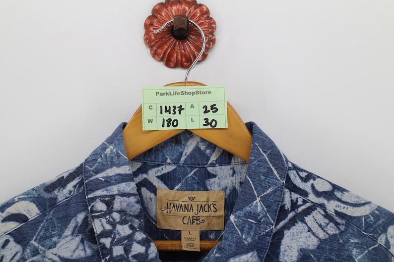 HAWAIIAN Shirt Men Large Blue Vintage Honolulu Aloha Shirt Hawaii Surf Beach Hibiscus Flower Floral Silk Button Up Shirt Size L