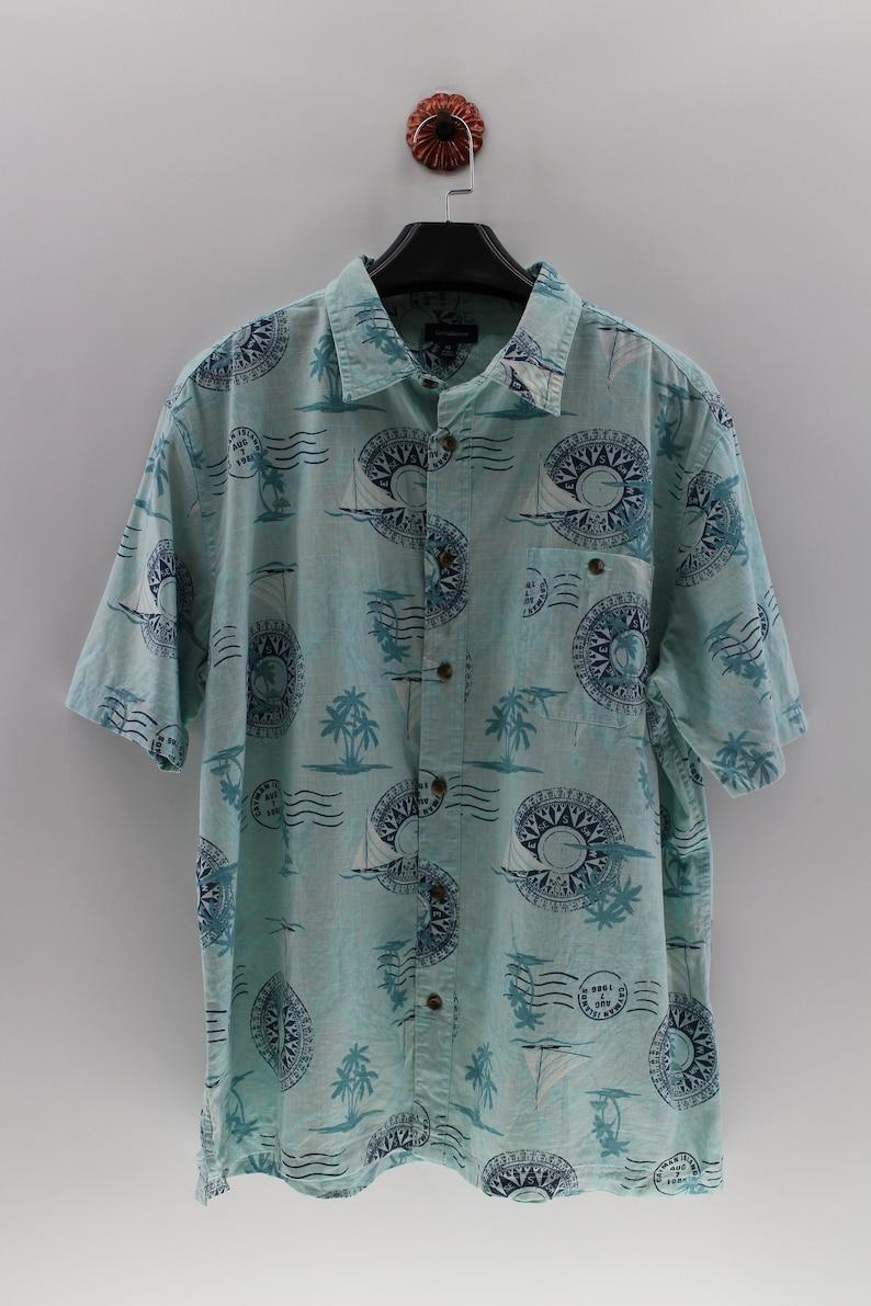 06db6f08b8f CROFT and BARROW Hawaiian Cotton Shirt XLarge Vintage Compass Abstract  Design Tropical Hawaii Surf Style Shirt Size XL