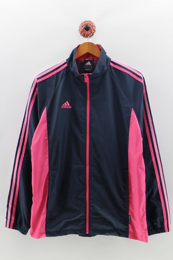ADIDAS Windbreaker Medium Women Three Stripes Track Top Jacket Adidas Equipment Sportwear Pink Black Windbreaker Jacket Ladies Size S