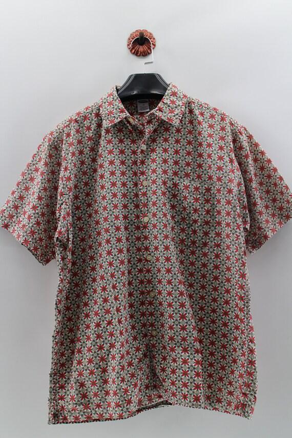 METRO ONE Hawaiian Cotton Shirt Flora XLarge Vintage Full Button Down Hawaii Surf Style Shirt Mens Size XL