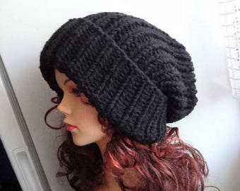 Super Slouchy Beanie Big Baggy Hat Winter Adult Teen Fashion Chunky Knit  Slouchy Knitted Hat Large Men Oversized Hat winter hat big hat 7620817f729