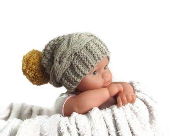 b48a6a08efb Newborn slouchy Hat with pompom