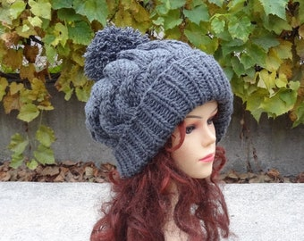 Slouchy Beanie Baggy Hat Slouchy with pompom Women Hat Men hat Oversized  beanie winter hat big hat dark grey winter hat Pompom beanie hat 9c8997a4c79