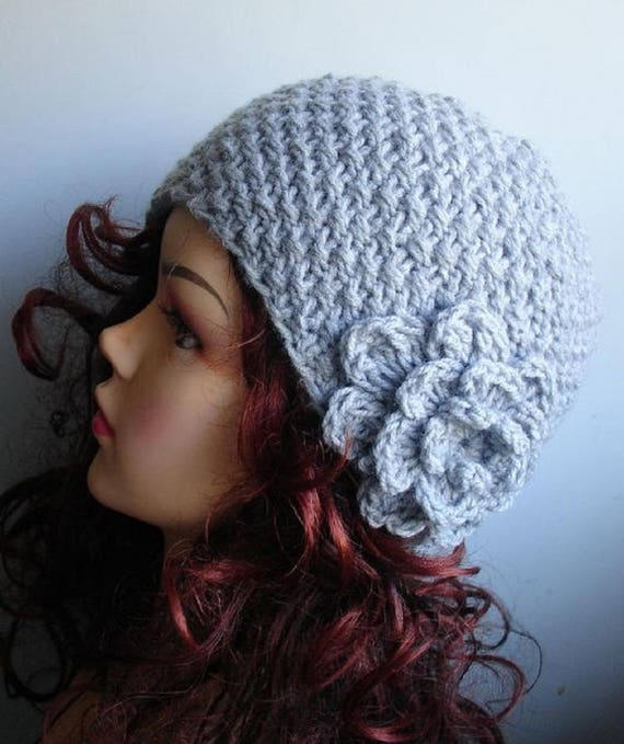 winter hat for woman black and white hat piano hat vintage style hat Chunky Knitted hat with BIG flower crochet flower beanie 1920 hat