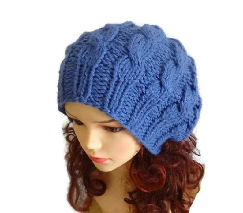 ace515045c440 Hand Knit cable Hat women beret cable knit beret women