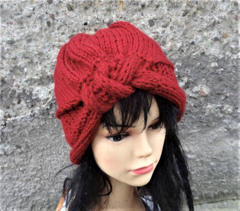 daf5961f13a Hand knit turban hat Knit women hat Fall Winter Accessories