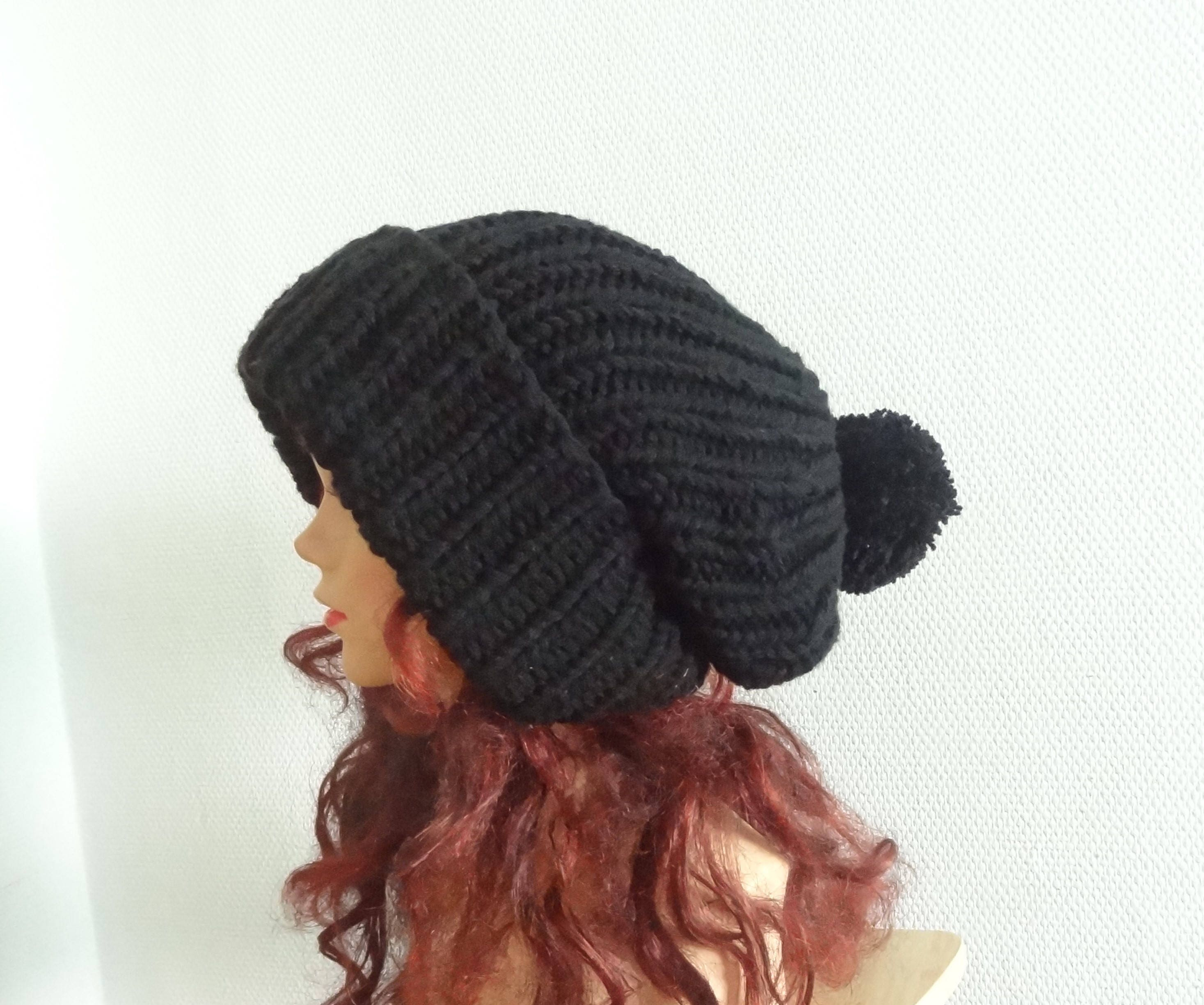 380277b962194 Super Slouchy Beanie Big Baggy Hat Slouchy with pompom Women