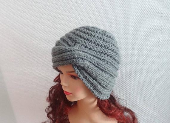 Hand knit turban hat Knit women hat Fall Winter Accessories  c6690cb1d05