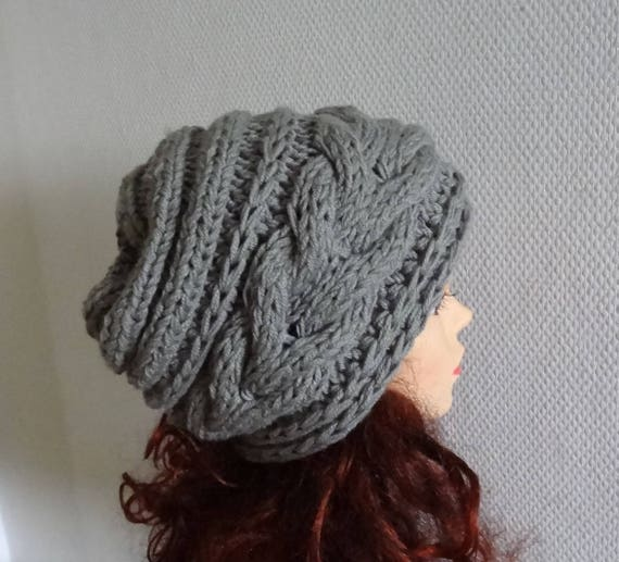 efc1d0bf2a9 women slouchy beanie hat knit cable Beanie Large chunky hat