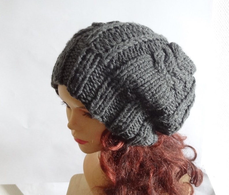 b0ca1828464 Handmade Knit Cable Hat Beanie Slouchy Hat Beanie Large Men