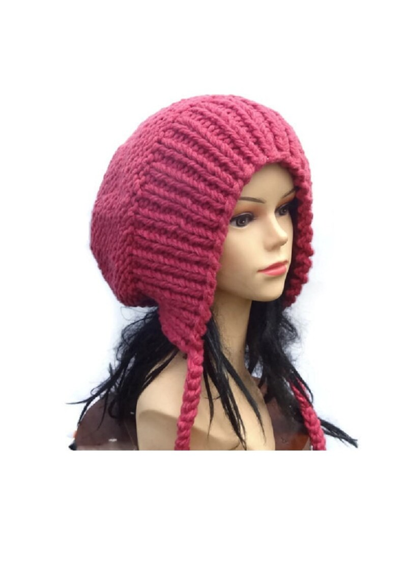 a7314dcddde42 Slouchy Ear Flap Hat raspberry slouchy Knitted slouchy beanie