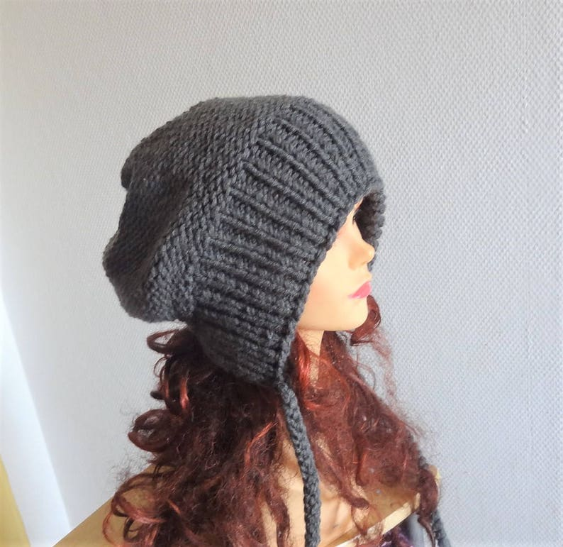 ed08e8e7a24ef Slouchy Ear Flap Hat gray slouchy hat Knitted slouchy beanie