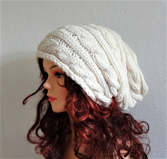 95a718c38fc Hand Knit Hat Slouchy Hat Unisex Beanie Knit Cable hat Slouchy Beanie  Oversized Baggy cabled hat women autumn accessory winter hat COLORS