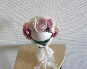 Flower Bonnet, Floral Bonnet, Garden Bonnet, Sitter Bonnet, Baby hat, Baby Photo Prop, crochet Baby Bonnet, Baby Hat, photo props sitter