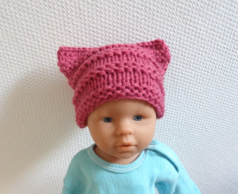 03944efcf42 Newborn Cat hat Chunky beanie Knit cat ears hat kids pussyhat