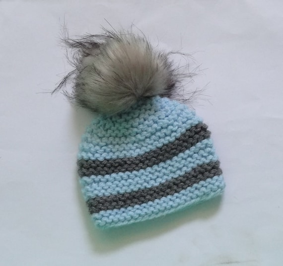 8ffb5c6b4ea fur pom pom hat Knit Baby Hat Newborn Hat pompom hat