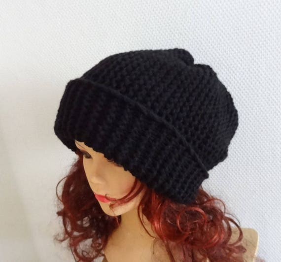 75356a13beea4 BLACK Slouchy Knit Hat Large unisex hat Knit slouchy Beanie