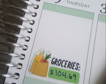 16 Grocery Planner Stickers - Budget Planner Sticker - Hand-drawn, Fit Most Planners - Grocery Shopping - Dave Ramsey - Budget - ECLP - A001