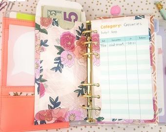 Cash envelope - 6 ct - Vertical - Budgeting - Cash Envelope System - Dave Ramsey - Budget System - Pink/Floral/Rose - Personal Size // E003