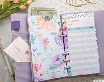 Cash envelope - 6ct - Vertical - Budgeting - Cash Envelope System - Dave Ramsey - Budget System - Spring/Floral/Purple/Blue - Personal Sizes