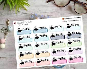 Pay Day Planner Stickers - Colorful - Fit Most Planners - 20 COUNT - Budget - ECLP
