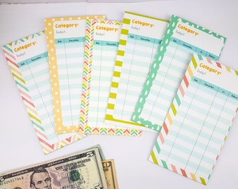 Cash envelope - 6 ct - Vertical - Budgeting - Cash Envelope System - Dave Ramsey - Budget System - Colorful/Rainbow - Personal Size // E005