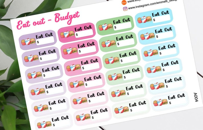 24 KAWAII Eat Out Planner Stickers  Budget Planner Sticker  image 0