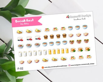 Breakfast Food Icon - Itty Bitty Planner Stickers - Planner Sticker - Fit Most Planners - ERIN CONDREN Planners - Meal Plan Inserts - F-02