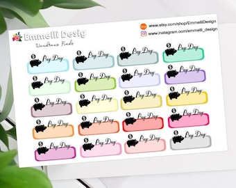 Pay Day Planner Stickers - Fit Most Planners - 20 COUNT - Budget - ECLP A003