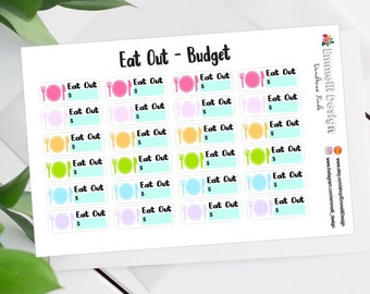 24 Eat Out Planner Stickers - Budget Planner Sticker - Fit Most Planners - Dave Ramsey - Budget - ECLP - A002