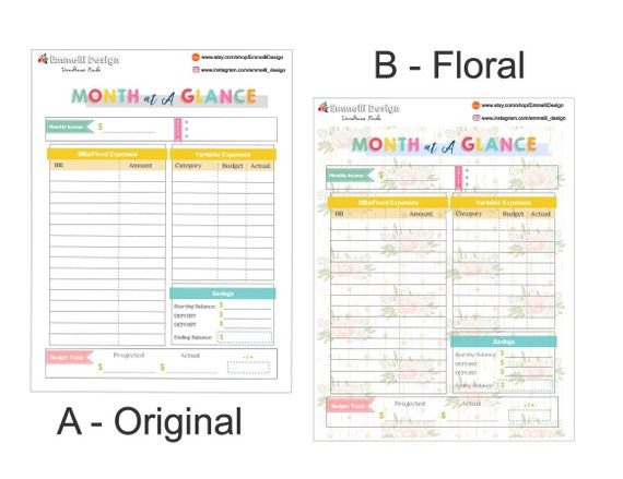 image about Month at a Glance Budget called Month-to-month Price range Entire Web page Sticker - Funds - Planner - Thirty day period at A Appear Style and design for Erin Condren - Delighted Planner (7\