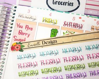 4 Weeks Worth// Days Of the Week Covers Planner Stickers - Fit Most Planners -Date Cover - Budget - ECLP #B008
